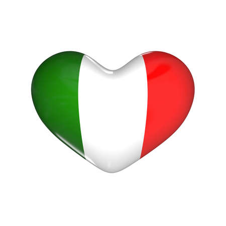 flag of Italy on the heart. 3d render illustration