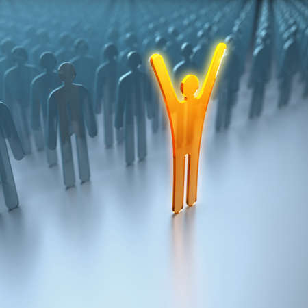 Unique luminous man. Conception of leadership. 3d Фото со стока