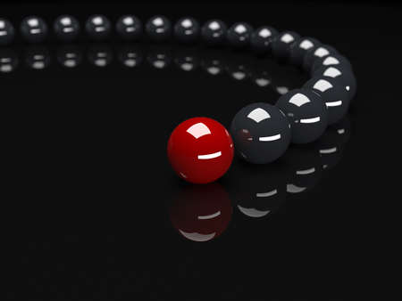 red sphere: Red sphere ahead of black spheres. Conception of leadership. 3d render illustration
