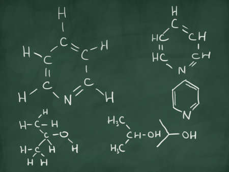 logarithm: chemical formulas on green chalkboard Stock Photo