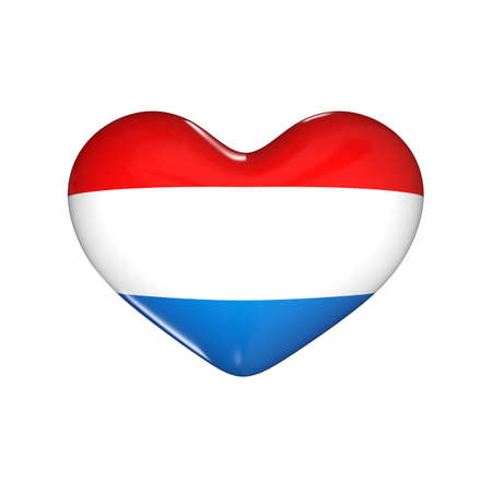 flag of Luxembourg on the heart. 3d render illustration