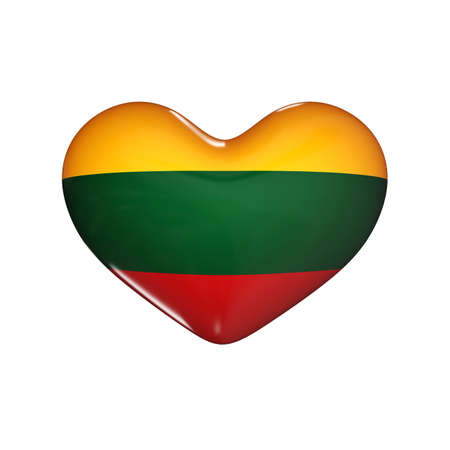 glossy button: flag of Lithuania on the heart. 3d render illustration
