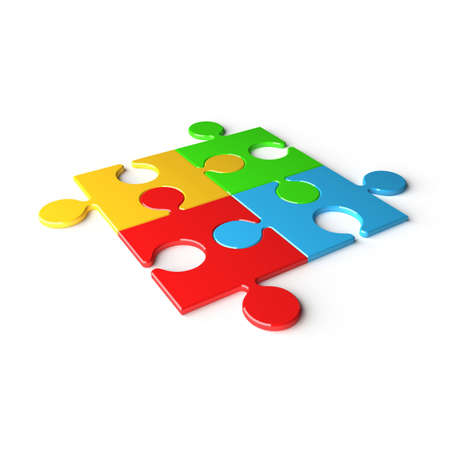 deploy: Four colored puzzles on white background. 3d render illustration Stock Photo