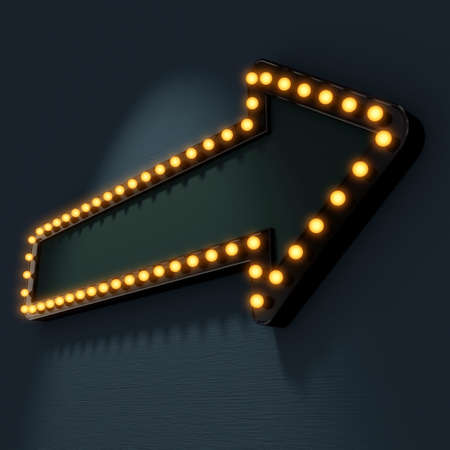 Signboard pointer with glowing bulbs. Blank for text. 3d render