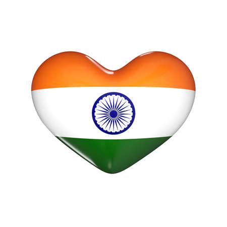 flag of India on the heart. 3d render illustration Фото со стока