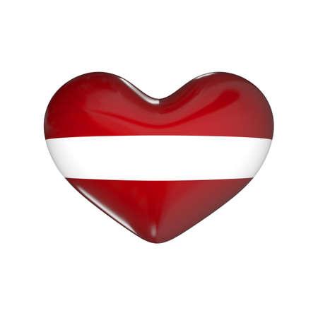 flag of Latvia on the heart. 3d render illustration