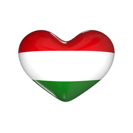 flag of Hungary on the heart. 3d render illustration