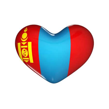 flag of Mongolia on the heart. 3d render illustration Фото со стока