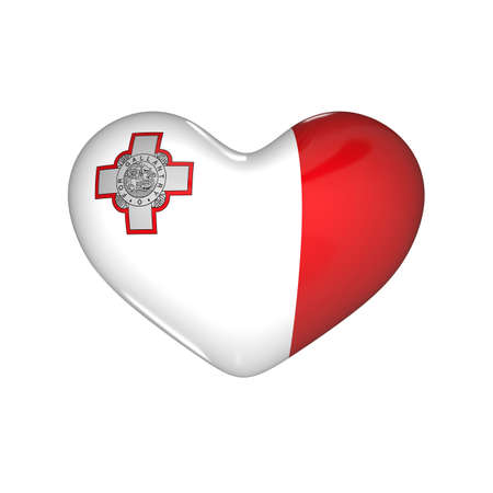 flag of Malta on the heart. 3d render illustration Фото со стока