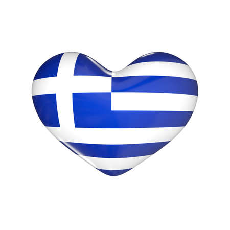 flag of Greece on the heart. 3d render illustration Фото со стока