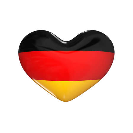 flag of Germany on the heart. 3d render illustration Фото со стока