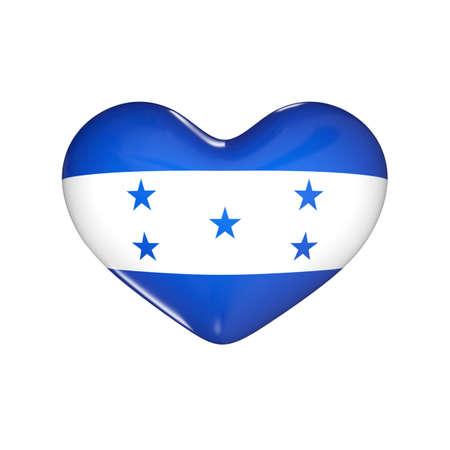 flag of Honduras on the heart. 3d render illustration