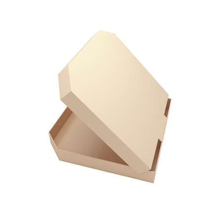 Open pizza box isolated at white background. 3d render illustration Фото со стока
