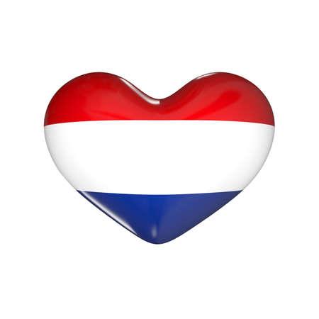 flag of Netherlands on the heart. Holland. 3d render illustration