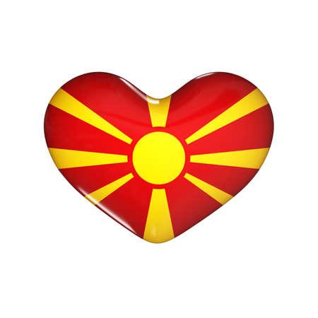flag of Macedonia on the heart. 3d render illustration