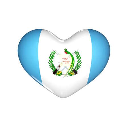 flag of Guatemala on the heart. 3d render illustration Фото со стока