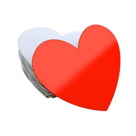 Unique red heart isolated at white background. 3d render illustration Фото со стока