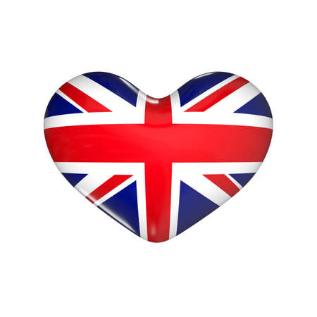flag of United Kingdom on the heart. England. 3d render illustration