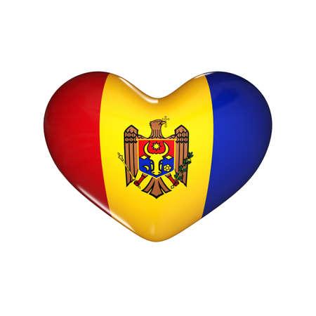 flag of Moldova on the heart. 3d render illustration Фото со стока
