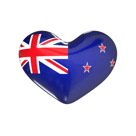 flag of New Zealand on the heart. 3d render illustration Фото со стока