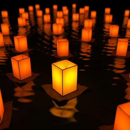 Unique sky lantern on water. Conception of innovation. 3d render Foto de archivo