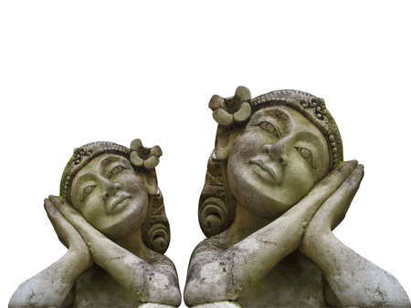 balinese statues on white background