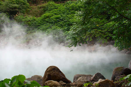 Hot thermal spring with smoke in Beitou, Taiwan