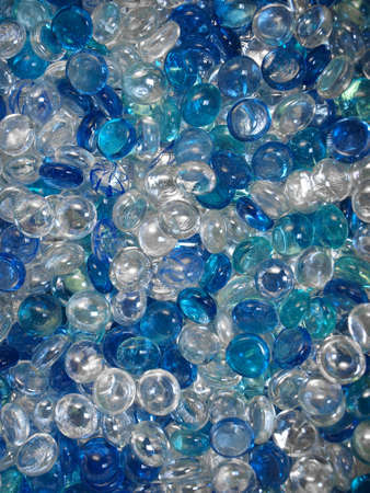 Blue and transparent glass marbles