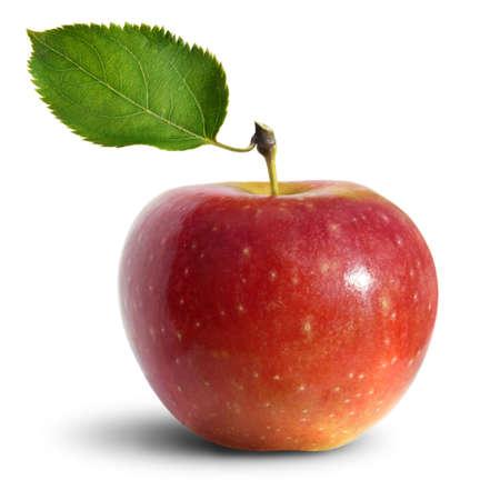 manzana roja: Manzana roja sobre fondo blanco  Foto de archivo