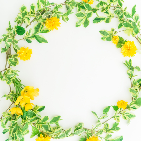 Floral round frame made of branches with leaves and yellow flowers floral round frame made of branches with leaves and yellow flowers on white background flat mightylinksfo