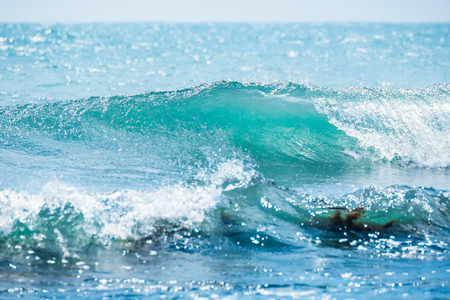 Blue wave in tropical ocean. Wave barrel crashing and clear water Stock Photo