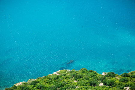 Cliff with frees and blue sea. Summer day on ocean Stock Photo