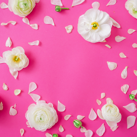 White flowers petals and buds on a pink background flat lay stock photo white flowers petals and buds on a pink background flat lay top view floral pattern mightylinksfo
