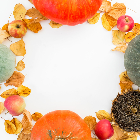 Thanksgiving autumn background. Frame of fall leaves, apples, pumpkins and sunflower on white background. Flat lay, top view