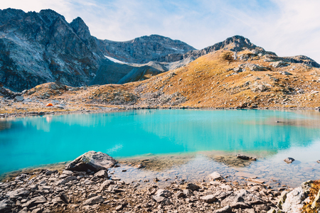 Beautiful mountain lake with turquoise water. Mountain landscape.