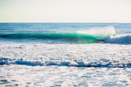Blue crashing wave in ocean. Crystal wave in Bali Stock Photo