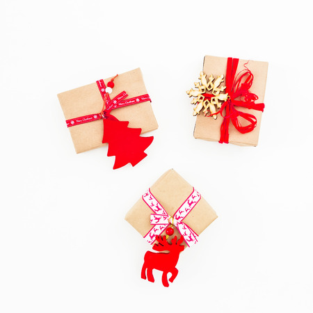 Christmas gifts box on white background. Flat lay, top view, copy space. New year concept Stock Photo