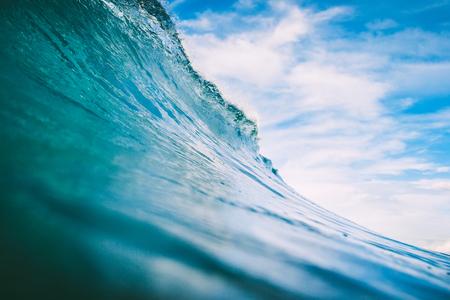 Blue wave in ocean. Big wave for surfing