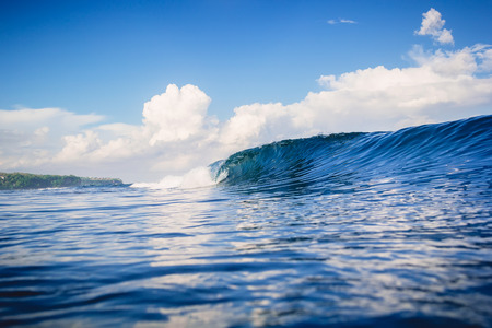 Blue ocean and ideal wave in Bali, Bingin beach Stock Photo