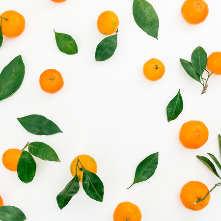Frame of citrus fruit on white background. Flat lay. Top view Stock Photo