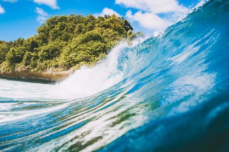 Ocean breaking wave in Bali, Indonesia Stock Photo