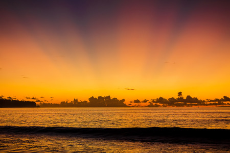 Wave in the ocean and bright warm sunset or sunrise. Ocean with sunset colors