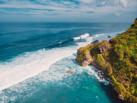 An aerial view of island and ocean in Bali, Indonesia. Stock Photo