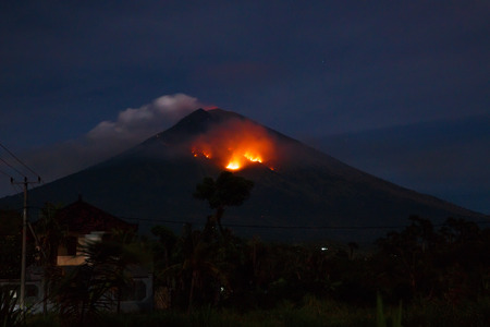Eruption with volcano Agung in Bali, Indonesia