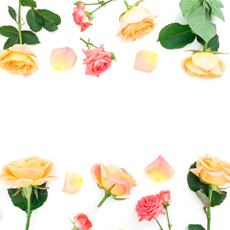 Floral frame with roses flowers and petals on white background. Flat lay, top view.