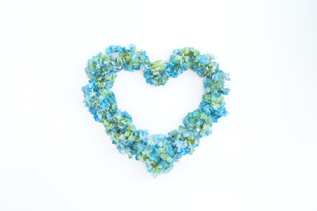 Love symbol of hydrangea flowers on white background. Flat lay, top view. Floral background Stock Photo