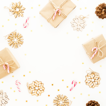 Christmas gifts on white background. Flat lay, top view. Frame composition with copy space Stock Photo