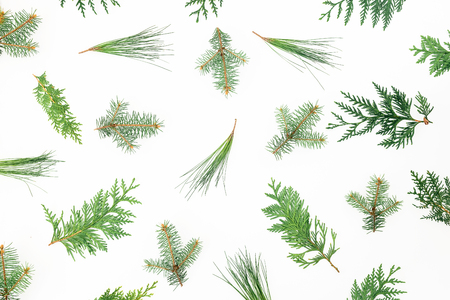 Christmas tree of white branches. Holiday background. Flat lay, top view Stock Photo
