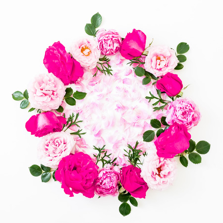 Floral composition on white background. Flat lay, Top view. Flower texture.