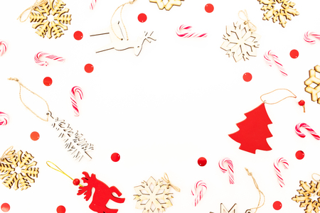 Christmas tree with snowflakes and candy canes on white background. Flat lay, top view. New Year concept.
